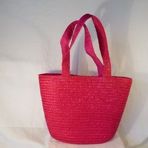 Bags - Pink Straw Bag with 10 1/2 in Strap